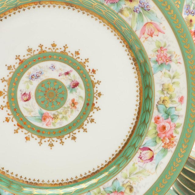 Metal Antique C. Ahrenfeldt Limoges Dinner Plates With Hand Painted and Gilt Accents - Set of 12 For Sale - Image 7 of 13