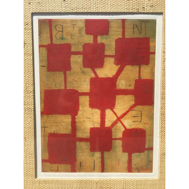 Lithograph Red and Beige - Mixed Media. Frame Included.