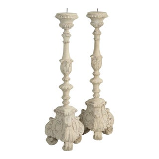 Italian or French Style Reproduction Faux Painted Candle holders - a pair For Sale