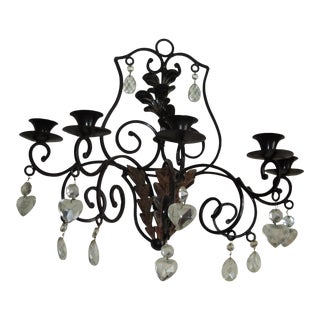 Art Nouveau Black Lacquered Steel Wall Sconce Candle Holder With Teardrop and Heart Shape Crystals For Sale