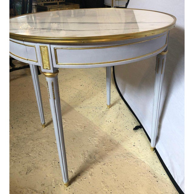 Pair Large Hollywood Regency Painted Bronze Mounted Bouiliotte Center End Tables For Sale - Image 4 of 13