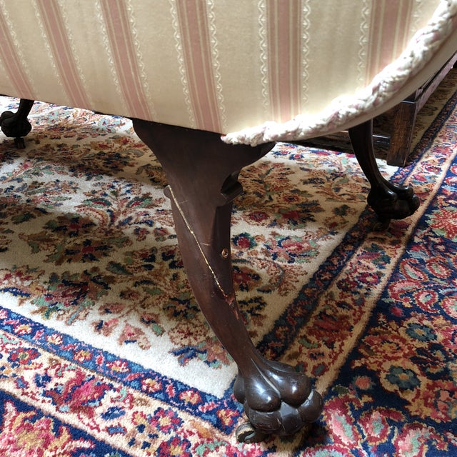 1900s Empire Ivory and Pink Silk Upholstered Settee For Sale - Image 10 of 10