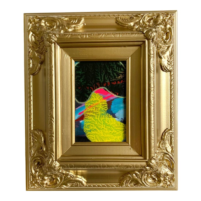 Green Shadow Mini Painting With Ornate Gold Frame For Sale