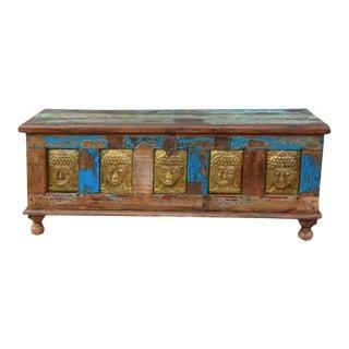 1920s Rustic Buddha Brass Teak Wood Reclaimed Handmade Trunk Storage Chest For Sale