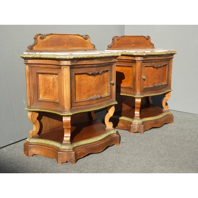 Antique French/Italian White Marble Top Nightstands - a Pair - Image 3 of 11