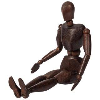 Antique Carved Walnut Articulated Artist's Figure Model For Sale