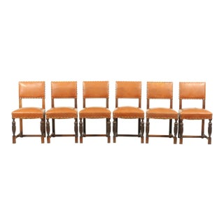 Set of 6 1930's English Jacobean-Style Brown Leather Studded Refectory Dining Chairs For Sale