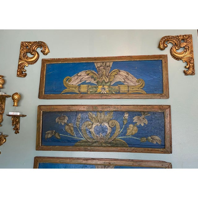 Pair of 19th century wood carvings with gilt from a buying trip in France. These make fabulous accents as corners above...