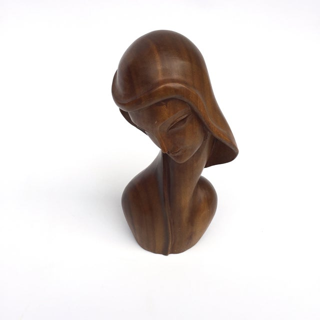 Art Deco Style Hand Carved Wooden Female Bust For Sale - Image 7 of 8