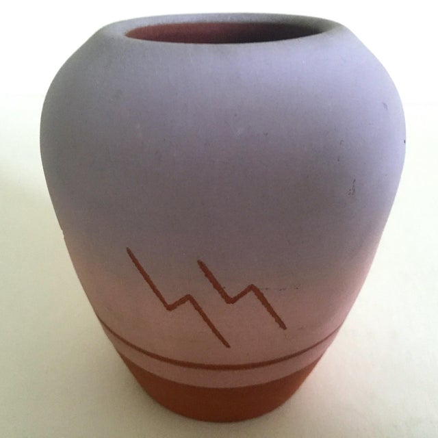 Orange Vintage Native American Sioux Havel Marie Signed Pink Purple Ombre Terra Cotta Vase For Sale - Image 8 of 11