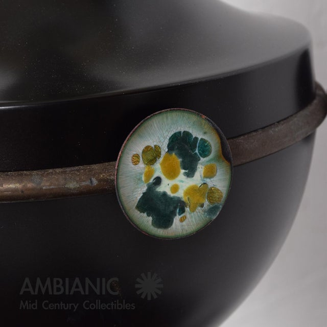 1960s Mid Century Mexican Modernist Table Lamp With Enamel Decorations For Sale - Image 5 of 9