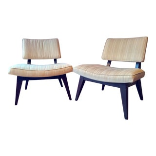 Mid Century Jens Risom Walnut Framed Slipper Chairs- a Pair For Sale