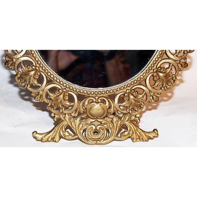 Round Gilt-Metal Vanity Mirror For Sale - Image 4 of 6