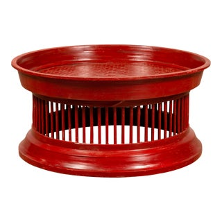 Contemporary Thai Red Lacquered Rattan Drum Coffee Table with Spindle Motifs For Sale