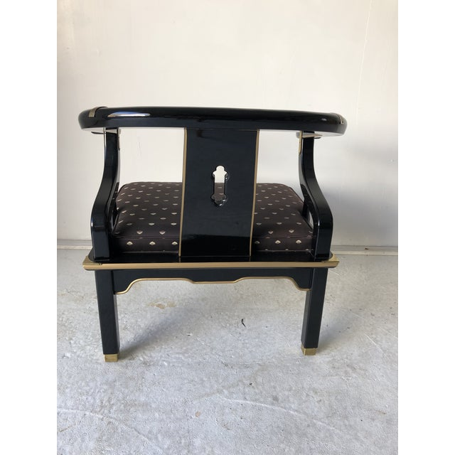 "Asian Style Black Lacquer ""Hickory"" Arm Chair For Sale - Image 11 of 12"