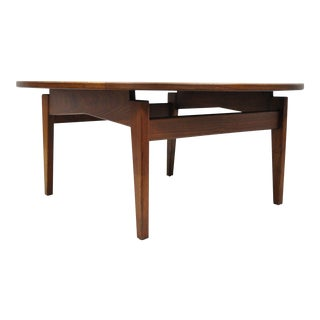 Jens Risom Walnut White Laminate Top Round Floating Coffee Table
