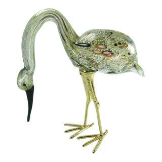 Murano Italian Art Glass Tutti Frutti Stork Egret Brass Legs Puccini 31341 For Sale