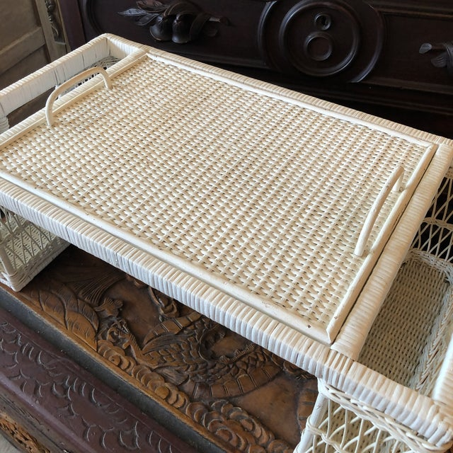 Vintage white wicker bed tray, fantastic for a boho or palm beach chic style.