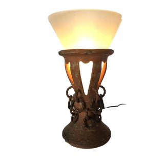 Primitive Iron and Clay Torchiere Table Lamp W/ Frosted Shade For Sale