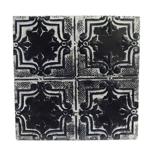 Antique Four Leaf Black & White Tin Ceiling Panel For Sale