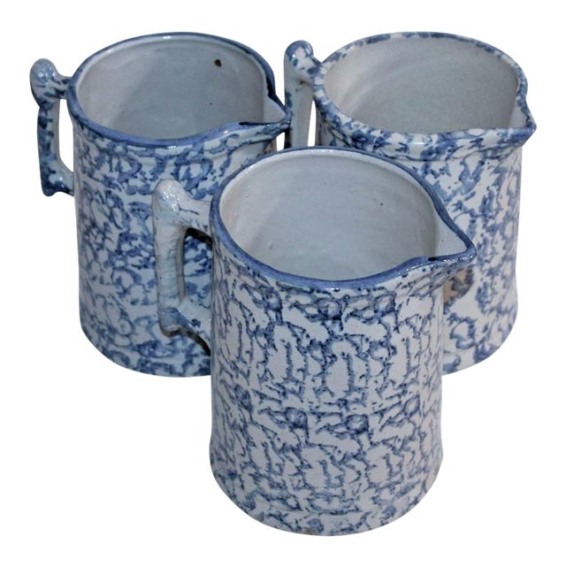 Group of Three 19th Century Spongeware Pitchers For Sale