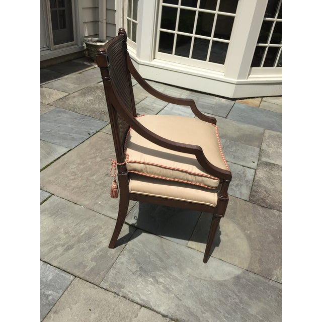 custom made in NYC at Artistic Frame, this cane backed arm chair is perfection. mahogany, detailed, elegant custom linen...