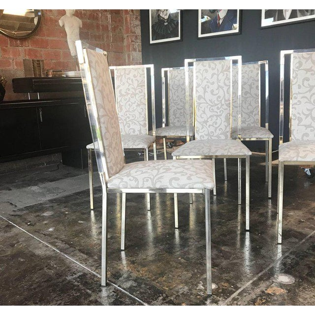 Italian 1960s Set of Six Chairs in Brass and Plexiglass For Sale - Image 4 of 7