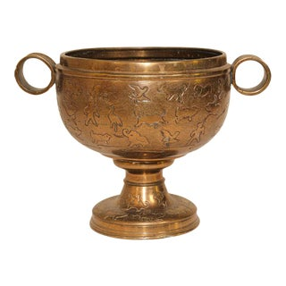 Asian Cast Brass Footed Vessel with Animals Designs For Sale