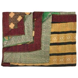 Blocks of Patterns Vintage Kantha Quilt For Sale