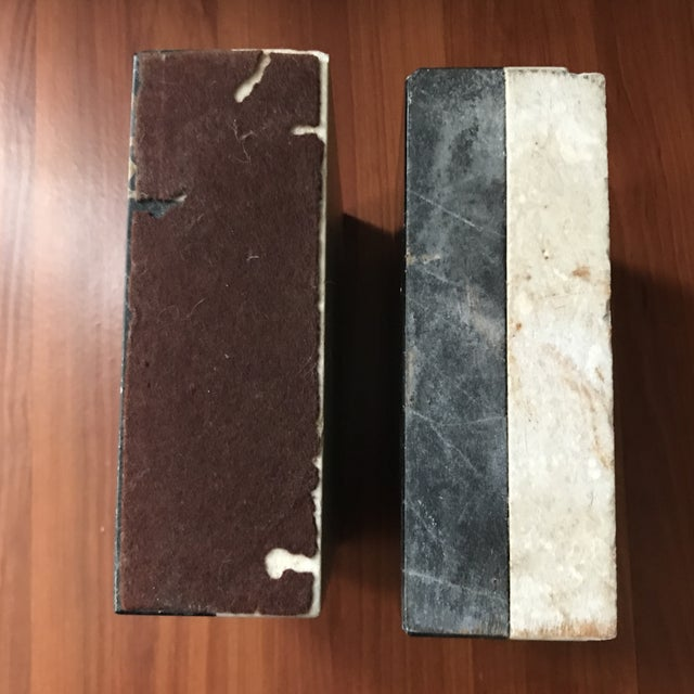 Stone Vintage Heather Quartz & Black Taupe White Marble Bookends - a Pair For Sale - Image 7 of 9