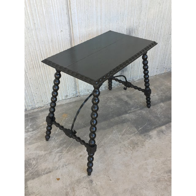 19th Century Spanish Side Table With Iron Stretcher, End Table For Sale - Image 4 of 11