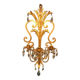 1950s Italian Gold Leaf Metal Candle Sconce For Sale