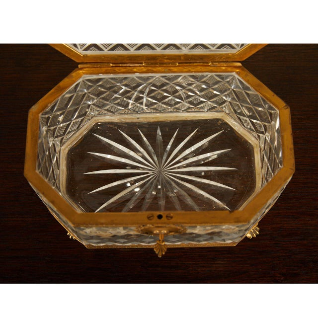 Metal French Crystal Casket Box For Sale - Image 7 of 8