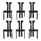 Image of Pierre Cardin Black Lacquer Italian Dining Chairs - Set of 6 For Sale
