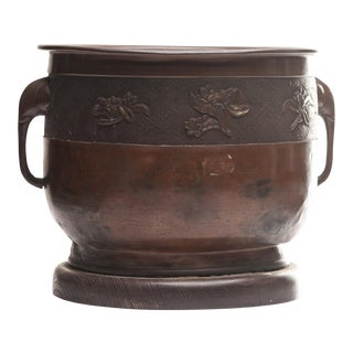 Antique Japanese Bronze Hibachi Fire Bowl With Elephant Handles For Sale