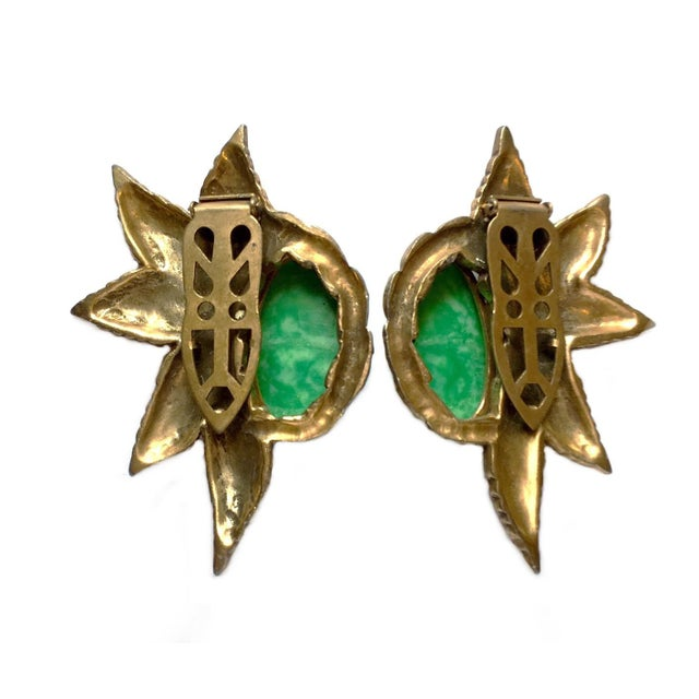 1930s Green Cabochon Dress Clips - a Pair For Sale - Image 4 of 5