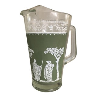 Mid-Century Wedgwood Green Hellenic Grecian Pattern Glass Pitcher by Jeannette Glass Company For Sale