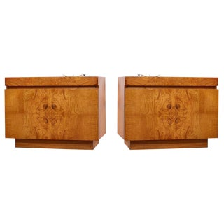 Burlwood Nightstands by Milo Baughman for Lane - a Pair For Sale