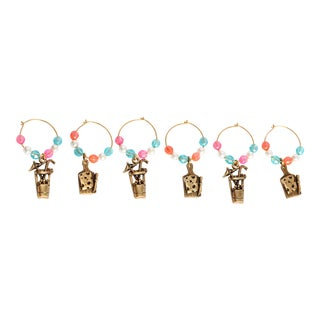 Vintage Cocktail or Wine Charms- Set of 6