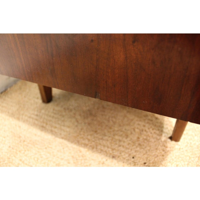 Mid-Century Danish Modern Elongated Concave-Front Walnut Credenza #137 - Image 11 of 12