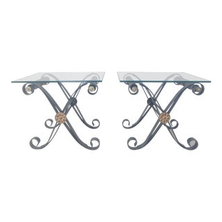 1960s Neoclassical Style Cerule Form Side Tables - a Pair For Sale