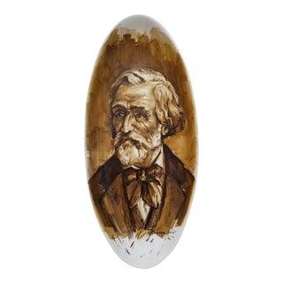 Italian Hand Painted Man Portrait Ceramic Wall Art Hanging For Sale