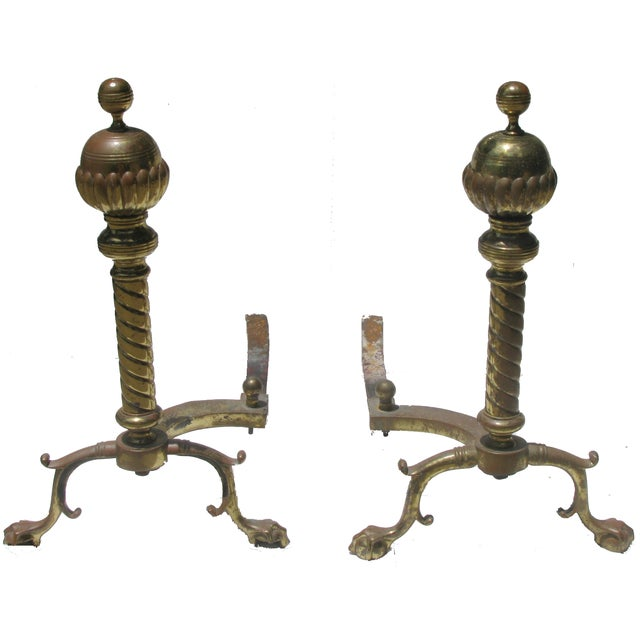 French Andirons with Ball & Claw Feet - A Pair For Sale