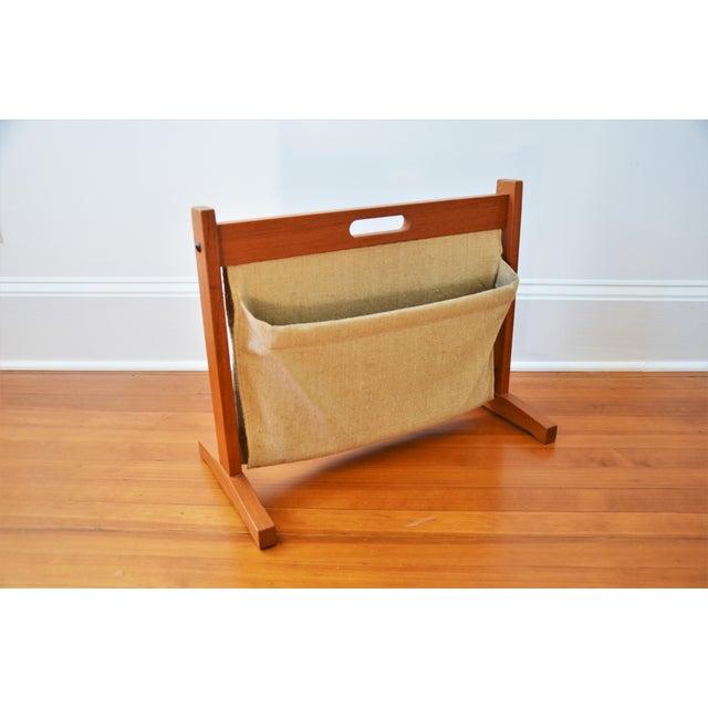 Vintage Scandinavian Modern Teak and Linen Double Magazine Rack by BRDR Furdo, Made in Denmark Teak frame with fabric...