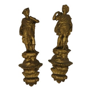 19th Century Empire Neoclassical French Ormolu Gilt Wall Hanging Sculpture - a Pair For Sale