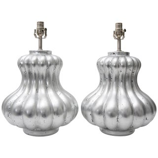 Custom Bespoke Silver Leaf Melon Form Table Lamps by Angel & Zevallos - a Pair For Sale
