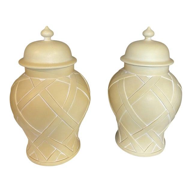 Vintage Lattice Design Ginger Jars - a Pair For Sale