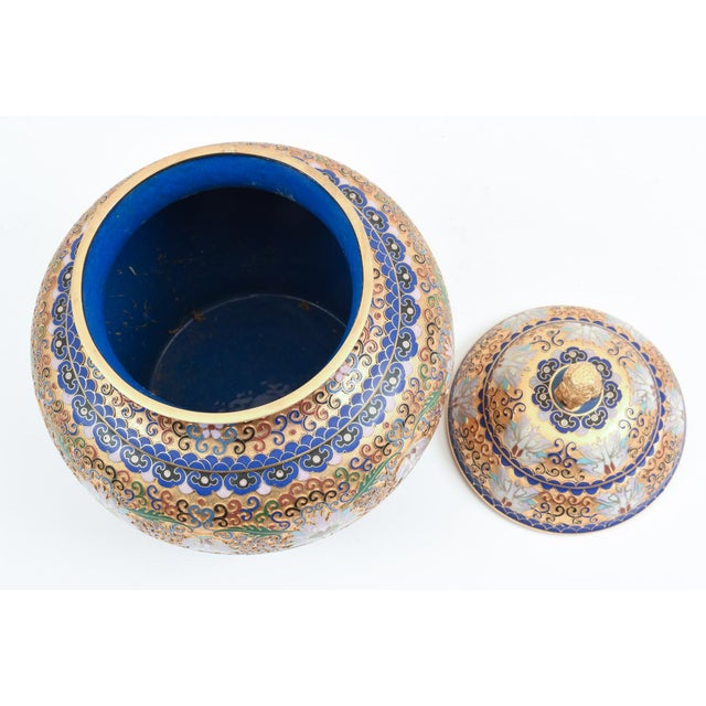 Green Covered Decorative Gilded Cloisonne Urn For Sale - Image 8 of 10
