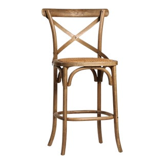 Rattan Seat Oak Counter Stool For Sale