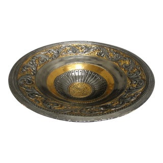 Italian Marioni Gold and Silver Centerpiece Bowl For Sale